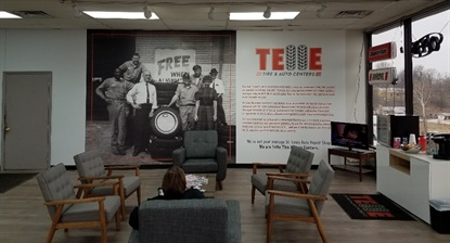 Telle Tire is expanding, but also investing in its existing stores. The Bridgeton, Mo., store was renovated. Aaron Telle says he wants customers to expect a modern look and amenities plus free drinks, fruit and snacks.