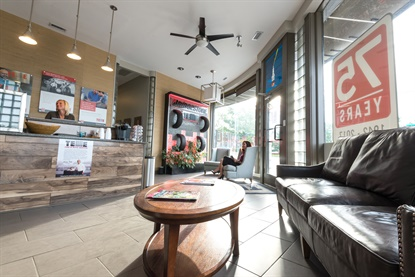 As Telle Tire continues to grow, it's also investing on a rebranding and new look for all of its stores. Aaron Telle wants locations like this one in Richmond Heights, Mo., to look more like a furniture store than a tire store.