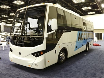 TEMSA North America unveiled its new TS30 coach on the show floor on Tuesday.