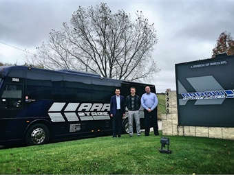 (L to R) Duane Geiger, executive VP of CH Bus Sales; Luke Busskohl, COO of Arrow Stage Lines; and Randy Angell, sr. account executive, CH Bus Sales.