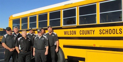 Wilson County Schools' bus technicians passed the required exams to earn the Blue Seal of Excellence.