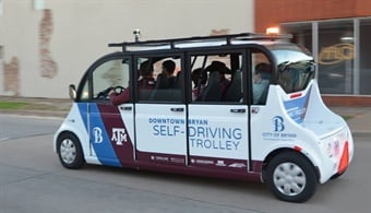 New teleoperation technology enables the control of Texas A&M's autonomous shuttle in the event of of obstructions, challenging road conditions, sensor malfunction, and difficult or hazardous driving.