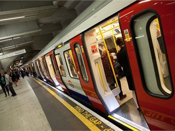Transport for London's Hammersmith & City line train at King's Cross.