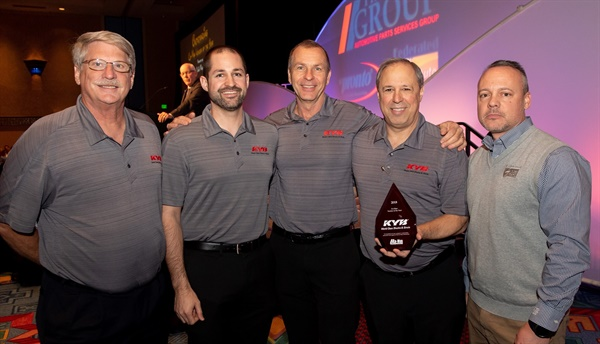 KYB has earned Co-Man Vendor of the Year honors from The Group. Pictured are (from left): Kim Tingley, Rayn Dickerman, Paul Kratzer,  and Mike Fiorito from KYB, and Chris Murphy, from Federated Auto Parts.