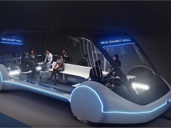 A people mover system, to be built by The Boring Company, will carry visitors to the Las Vegas Convention Center in autonomous electric vehicles (rendering shown) via a loop of underground express-route tunnels.