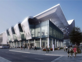 Artist conception of entrance to Las Vegas Convention Center Loop outside new convention hall. Image: LVCVA