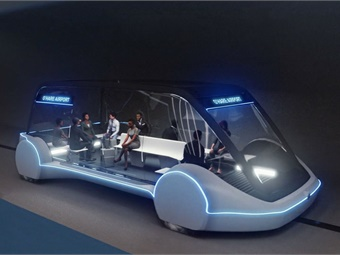 Rendering of The Boring Co.'s Chicago Loop vehicle, which will carry up to 16 passengers, plus their luggage, and will depart from O'Hare and from Block 37 as frequently as every 30 seconds. Photo: The Boring Company