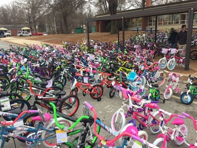 In December, Thomas Built and its employees donated 274 bicycles to the students of Oak Hill Elementary, which is in a low-income area of High Point.