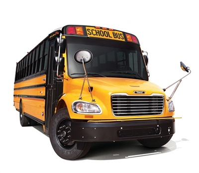 Thomas Built Buses' Saf-T-Liner C2, which is equipped with the Detroit DD5 engine, is designed to provide a lower total cost of ownership and reduce overall consumption of both diesel fuel and diesel exhaust fluid. Photo courtesy Daimler Trucks North America