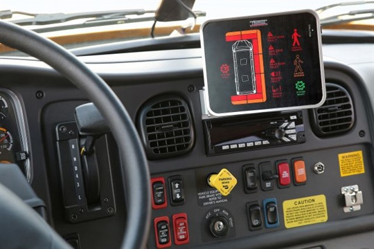 When a pedestrian is detected, Thomas Built's new system will alert the driver on an in-cabin tablet and through caution lights on the cross-view mirrors.
