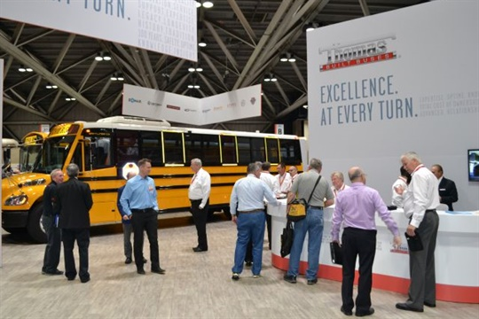 Thomas Built's seven-year Allison Transmission warranty will now cover buses manufactured in 2016 and 2017. Seen here is the Thomas booth at the NAPT 2016 trade show.