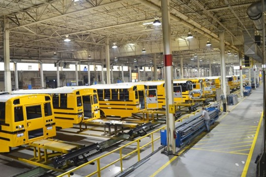 Thomas Built Buses will add energy-efficient heating systems and LED lighting in its offices and manufacturing facilities. Seen here is the Saf-T-Liner C2 plant.