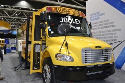 It's essential for operators to figure out each vehicle's range limits and the minimum charging requirements for each route. Shown here is Thomas Built Buses' Saf-T-Liner C2 Jouley, powered by Proterra. File photo