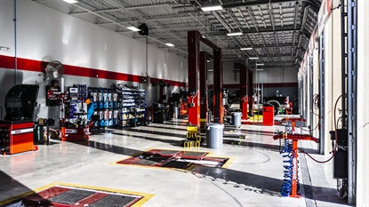 One element of Tire Kingdom's 'shop of the future' concept is a clear, large view into the service bays for consumers.