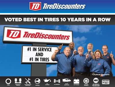 Tire Discounters ranked tops in two categories, according to Cincinnati magazine CityBeat.