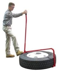 One person operates the Tire Lifter by unfolding the hook and placing it under the tire, then pulling the lever back and lifting.