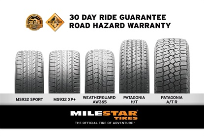 Tireco Inc. has added a 30-day ride guarantee and a road hazard protection program to select Milestar brand products.