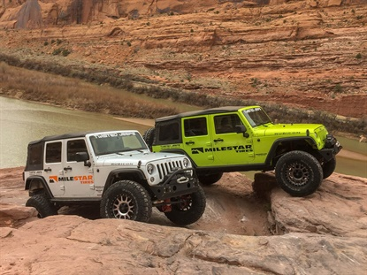 Tireco's Milestar brand has joined Twisted Jeeps Rentals as a sponsor, and is outfitting the company's Jeeps with Patagonia M/T tires.