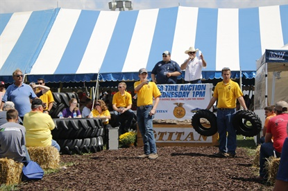 Titan has auctioned off Titan- and Goodyear-brand farm tires at the Farm Progress Show every year since 1996 to benefit FFA chapters.