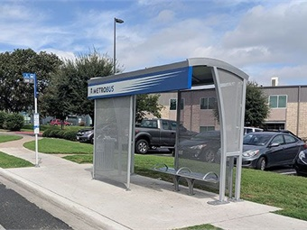 Since 2016, Tolar Manufacturing has designed and fabricated 69 custom-branded transit shelters for Capital Metro. Tolar