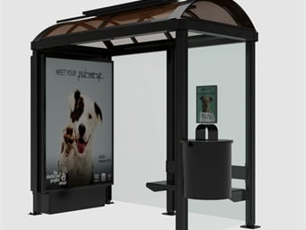 In addition to the integrated benches and post mounted trash bins, all the shelters will include solar-powered ad kiosk lighting provided by Urban Solar.Rendering via Tolar