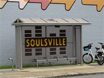 "Tolar Manufacturing successfully integrated the artistic design into a durable 13-foot Tolar Sierra Series shelter that includes an eight-foot perforated metal bench, shade-producing low peak roof, and bright yellow, neighborhood-identifying, ""SOULSVILLE"" branding.