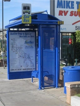 Tolar Manufacturing Co. was recently awarded a contract by Sunline Transit to supply additional bus shelters and transit street furniture for the Coachella Valley in Southern California. Photo: Tolar Manufacturing Co.