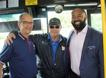 From left: Amalgamated Transit Union Local 1577 President Dwight Mattingly, Tom Romano, and Palm Tran Executive Director Clinton B. Forbes. Photo courtesy of Palm Tran