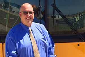 A shake-up in staffing prompted by a transportation supervisor retiring from Mojave (Calif.) Unified School District led to the promotion of three bus drivers. Shown here is Tom Altman, a former bus driver and the new transportation supervisor.
