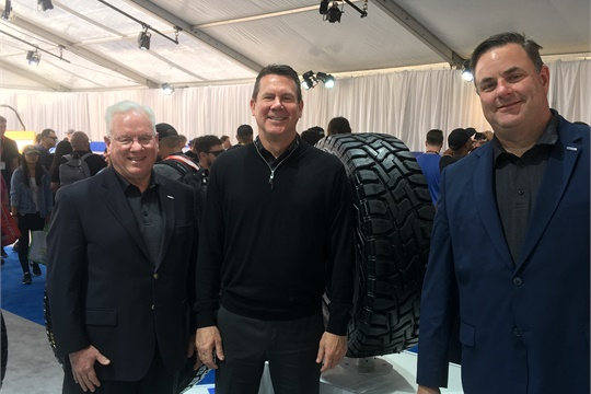 """We now have national distributors and dealers,"" said Tim Chaney, Toyo's vice president of marketing (center) with, from left to right, Toyo President and CEO Roy Bromfield and Michael Graber, Toyo's curent director of sales, commercial tires, during the 2019 Specialty Equipment Market Association Show."