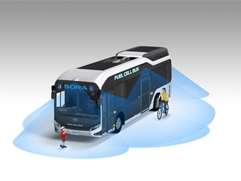 Toyota's new fuel cell bus offers a field of vision support camera system. Photo: Toyota