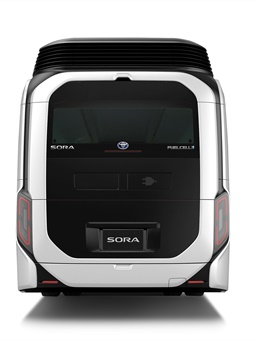 The rear of the bus showcases the stereoscopic design of the Sora bus. Photo: Toyota