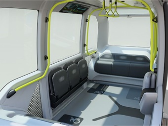 Interior of Toyota's e-Palette autonomous vehicle.