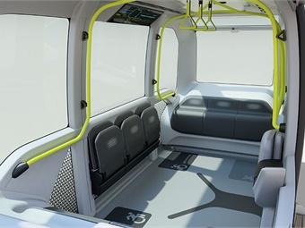 Interior of Toyota's e-Palette autonomous vehicle. Toyota