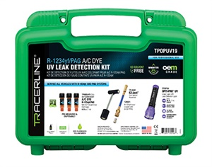 The R1234yf/PAG A/C Dye UV Leak Detection Kit treats up to three A/C systems.