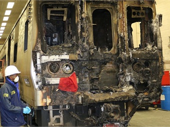 Train involved in Valhalla, N Y, Metro-North accident at maintenance facility to be further examined. NTSB