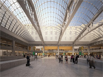 Rendering of Farley Post Office redevelopment. Photos via Gov. Cuomo's office.