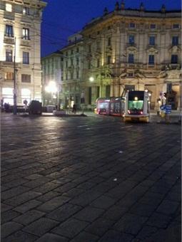 Tram in central Milan