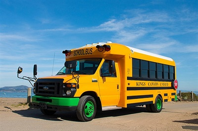The buses will serve students in Twin Rivers Unified School District, Sacramento City Unified School District, and Elk Grove Unified School District. Shown here is a Trans Tech eSeries bus.