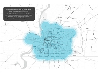 Each of the black dots represents a MATA stop. The blue circles represent a 0-3-mile radius around each stop, or the area you can travel for approximately $5 on Uber. Photo: TransLoc