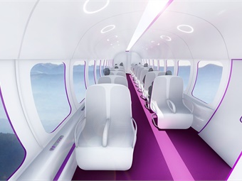 Interior rendering of TransPod hyperloop capsule.