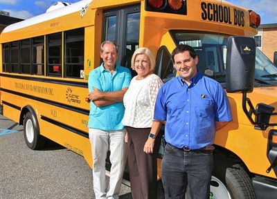 The eSeries is being operated by contractor Educational Bus for Copiague Public Schools. Shown here are Educational Bus Transportation President Sean Corr (right), Copiague Public Schools Superintendent Dr. Kathleen Bannon, and Assistant Superintendent Peter Michaelson.