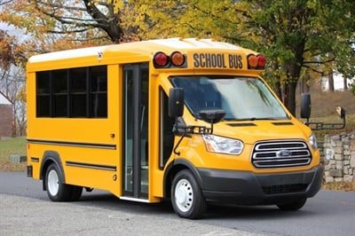 The Trans Star is a 20-passenger, dual rear-wheel bus that combines signature aerodynamics with the Ford Transit platform.