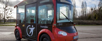 The Transdev/Lohr i-Cristal electric shuttles are SAE Level 4 (fully-autonomous in select areas) and operate without a steering wheel or pedals. Photo: Transdev