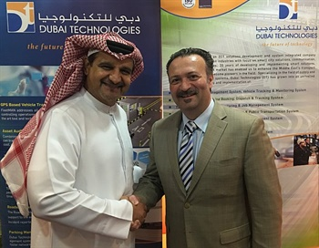 Transfinder and Dubai Technologies have partnered to serve the Middle East and North Africa region. Antonio Civitella, Transfinder's president and CEO, is shown here withAhmed Al Rafi, CEO of Dubai Technologies.