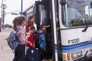 A new survey's findings include which states allow non-school bus vehicles, such as transit buses (pictured), to be used for home-school-home transportation.