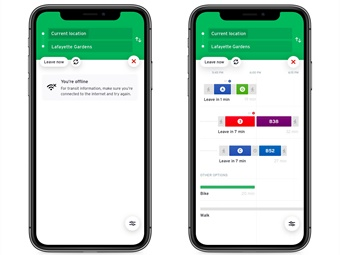When a user is connected to the internet, Transit's trip planner is updated with real-time information and users can receive up-to-the-minute service alerts. Transit