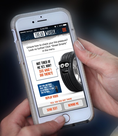 Tread Wisely offers a free mobile app that includes how-to videos, showing in two minutes or less how to perform tire safety checks, as well as videos on other driving safety topics such as how to change a flat tire and what to do if involved in an accident.