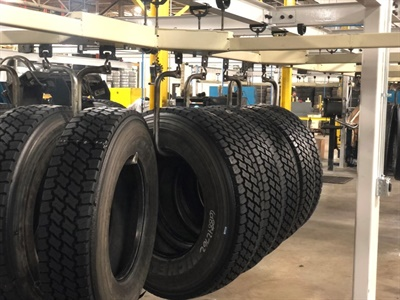The first tires built at the retread plant in Tredroc Tire Services' new super center in Allen Park, Mich., on Dec. 17, just a week after the plant was relocated to the facility.