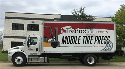 No. 13-ranked Tredroc Tire Services expanded into the mobile industrial tire press business with the purchase of this service truck.
